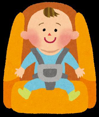 チャイルドシートに乗る赤ちゃんイラスト