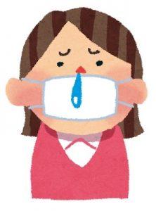 風邪をひく女性のイラスト
