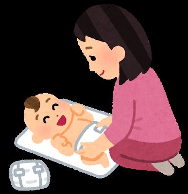 オムツを変える母親のイラスト