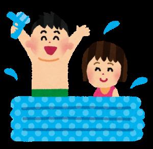 プールで遊ぶ子供のイラスト