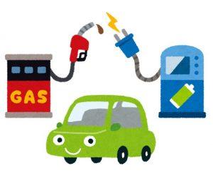 ガソリンと電気のハイブリッド車