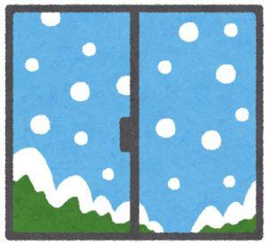 雪の降る窓